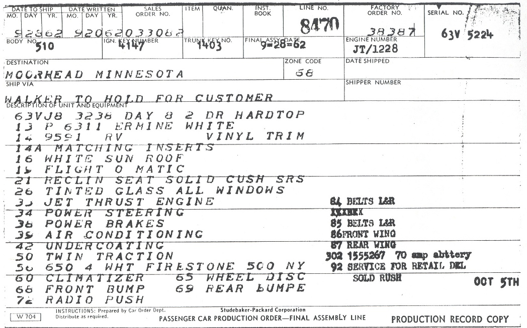 south bend serial number card